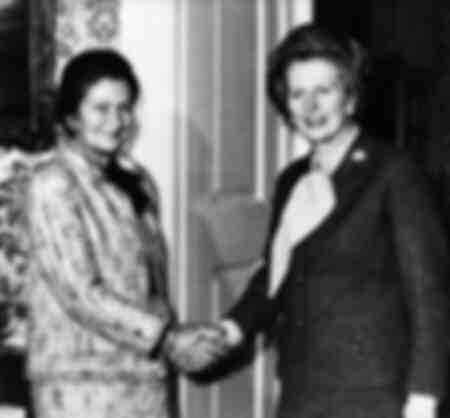 Prime Minister Margaret Thatcher with Simone Veil