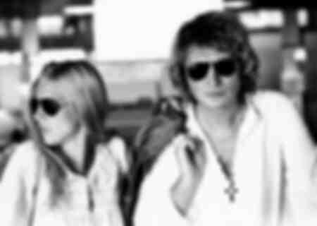 Sylvie Vartan et son mari Johnny Hallyday à Milan 1973