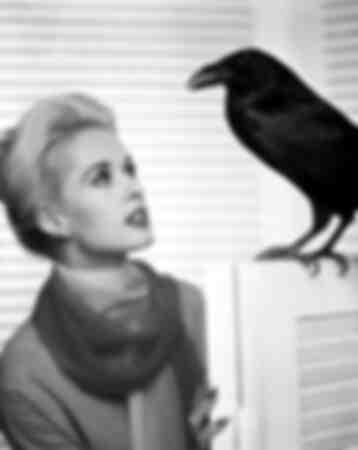 Tippi Hedren avec le corbeau
