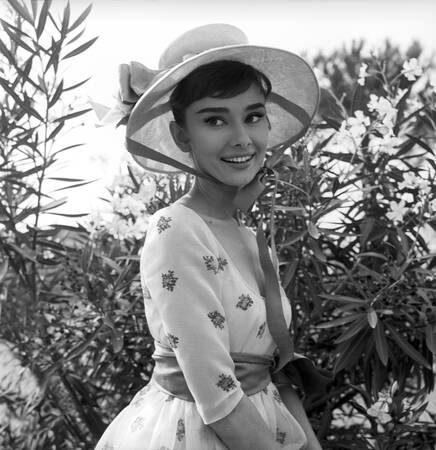 """Audrey Hepburn on the set of """"War and Peace"""""""