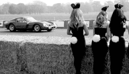 Bunny Girls looking at Paul Vestey in a Ferrari 250G