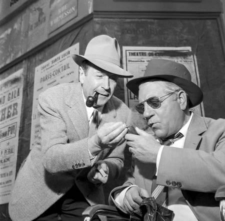 Georges Simenon et Jean Gabin en tournage