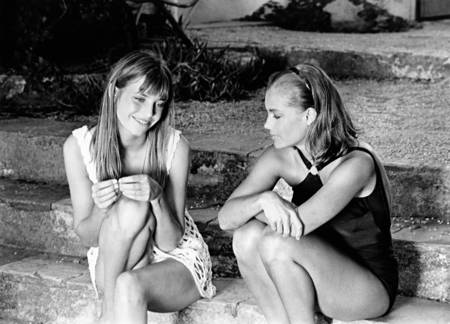 Jane Birkin and Romy Schneider on the set of The Swimming Pool movie