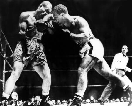 Joe Louis vs. Rocky Marciano in October 1951