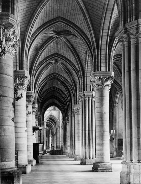 The interior of Notre-Dame around 1955