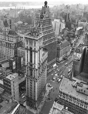 Aerial view of Time Square in 1948