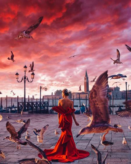 Red morning in Venice