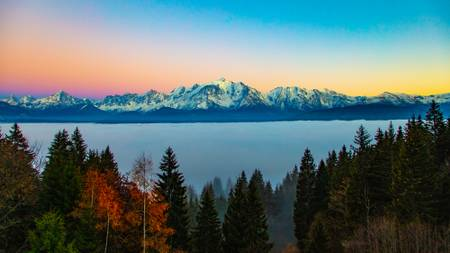 Sea of fog on the Mont Blanc range