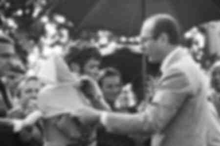 Jacques Chirac and the winner of the 1977 Tour de France
