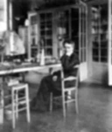 Marie Curie in Paris in her laboratory
