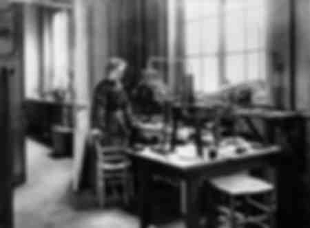 Marie Curie i Paris i sitt första laboratorium