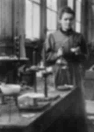 Marie Curie in her first laboratory