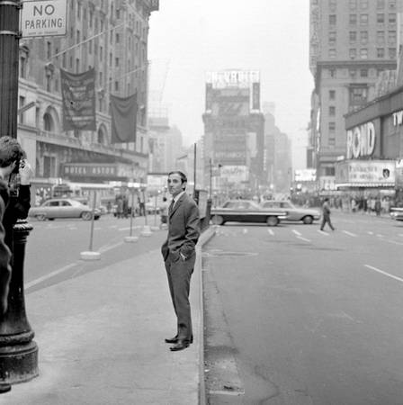 Charles Aznavour on the streets of New York