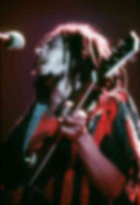 Bob Marley on stage at Hammersmith Odeon