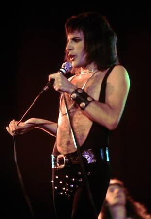 Freddie Mercury of Queen performs