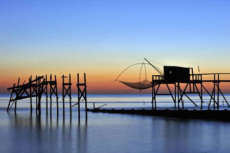 Fishing cabin at dusk