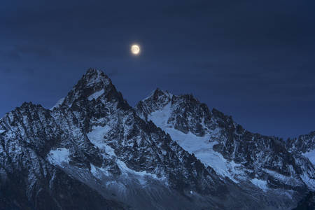 The Needles of Chamonix during the full moon