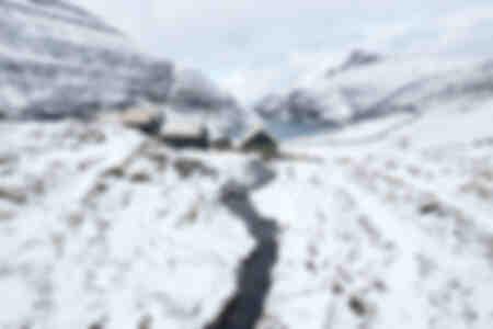 Village de Saksun sous la neige