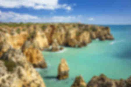 Ponta da Piedade rock formations visited by boat tours Lagos Algarve Portugal EU Europe