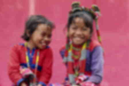 Two smiling children of the Kalagan Asia