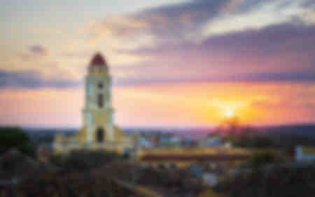 View of Bell Tower and Trinidad at sunset