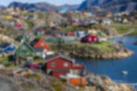 View of the brightly colored houses in Sisimiut