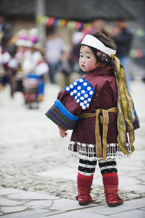 A girl in ethnic costume