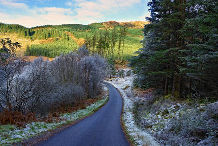A winter view of a winding road