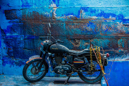 Motorcycle parked on the street of Jodhpur