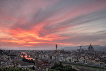 Pink clouds at sunset in the city of Florence