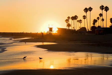 Sunset at Corona del Mar Beach Newport Beach