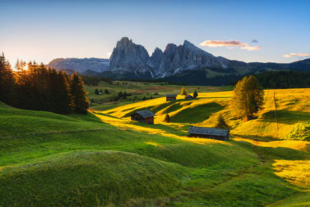 The Alpe di Siusi plateau in Autumn