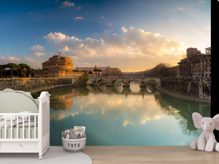 Castel Sant'Angelo and river Tiber in Rome Italy