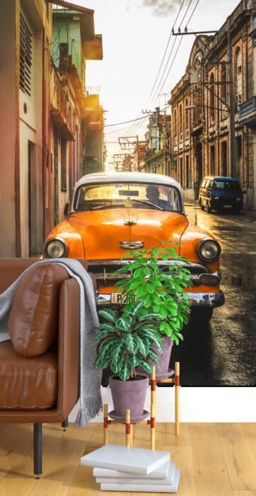 Oranje Amerikaanse oldtimer