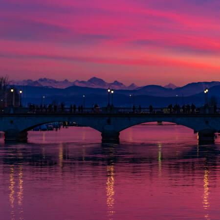 Coucher de soleil sur Zurich