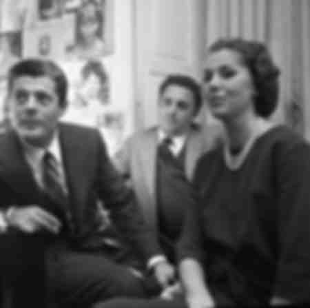 Marcello Mastroianni Federico Fellini and Madeleine Fischer 1958