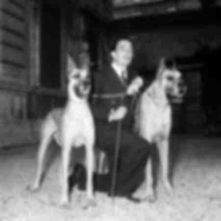 Salvador Dalì with his dogs