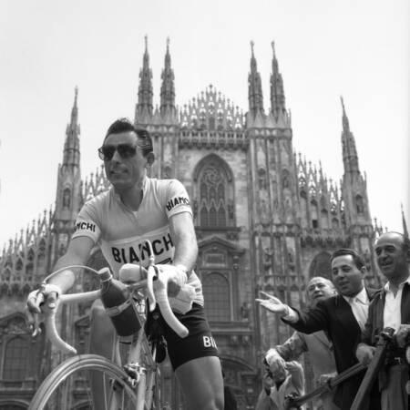 Fausto Coppi at the 1955 Giro d'Italia
