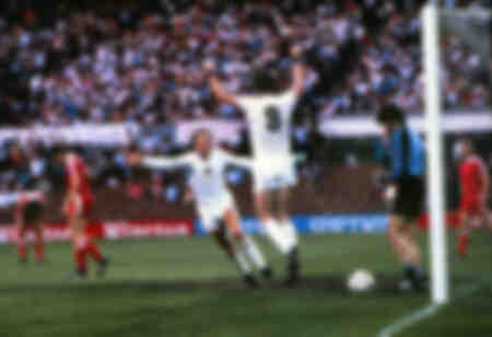 1982 European Cup Final - Peter Withe celebrates his goal for Aston Villa