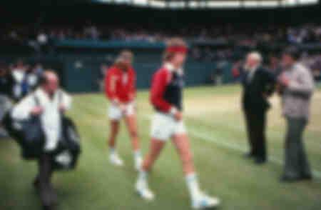 John McEnroe and Bjorn Borg before the 1981 Wimbledon final