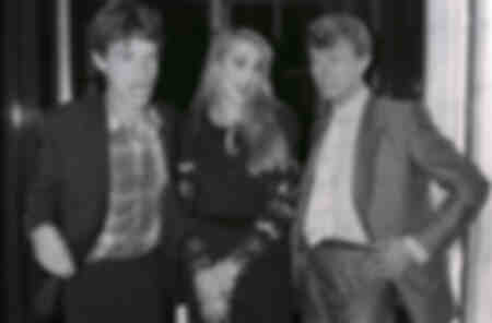 Mick Jagger with Jerry Hall and David Bowie on a night out in London