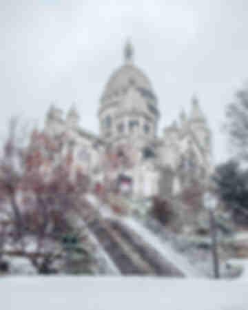 Parijs - Sacré Coeur onder de sneeuw