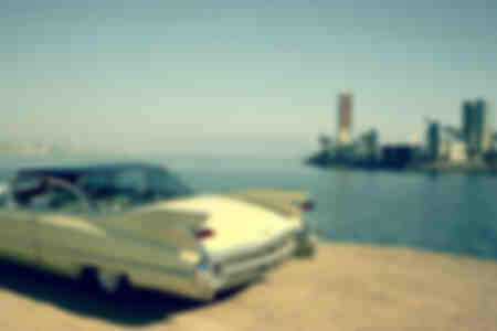 11950-talet Cadillac Coupe Long Beach Futuristic Island Kalifornien