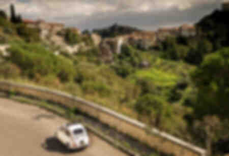 Fiat 500 approaching Savoca in Sicily
