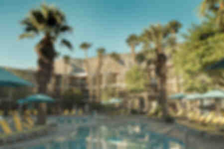 Modernistisch hotelgebouw in Palm Springs, Californië, VS.