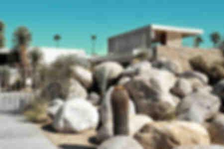 Modernistisch huis in Palm Springs, Californië, VS.