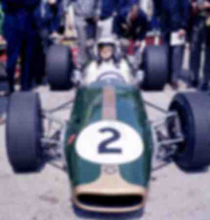 Dennis Hulme in Brabham on the pits during a Formula 1 race on the Nuerburgring