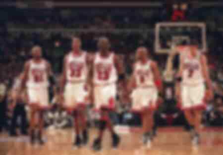 Dennis Rodman Scottie Pippen Michael Jordan Ron Harper und Toni Kukoc