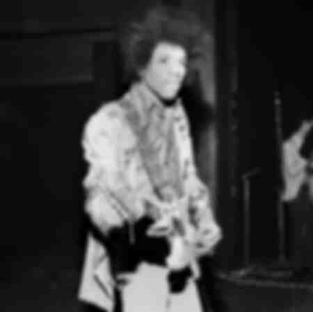 The American guitarist Jimi Hendrix during a sound check before the concert