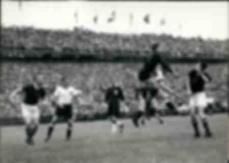 Un corner lors de la finale de la Coupe du monde 1954 entre l'Allemagne et la Hongrie